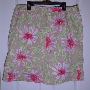 Talbots Hawaiian Floral Print Beige Tube Skirt